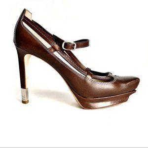 Celine Brown Leather Square Toe Platform Heels